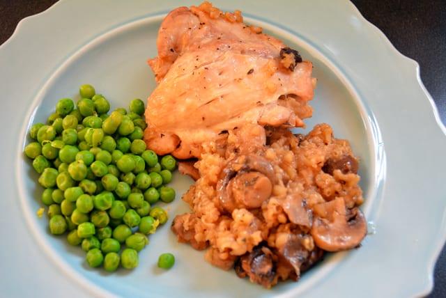 Chicken and Mushroom Rice Bake