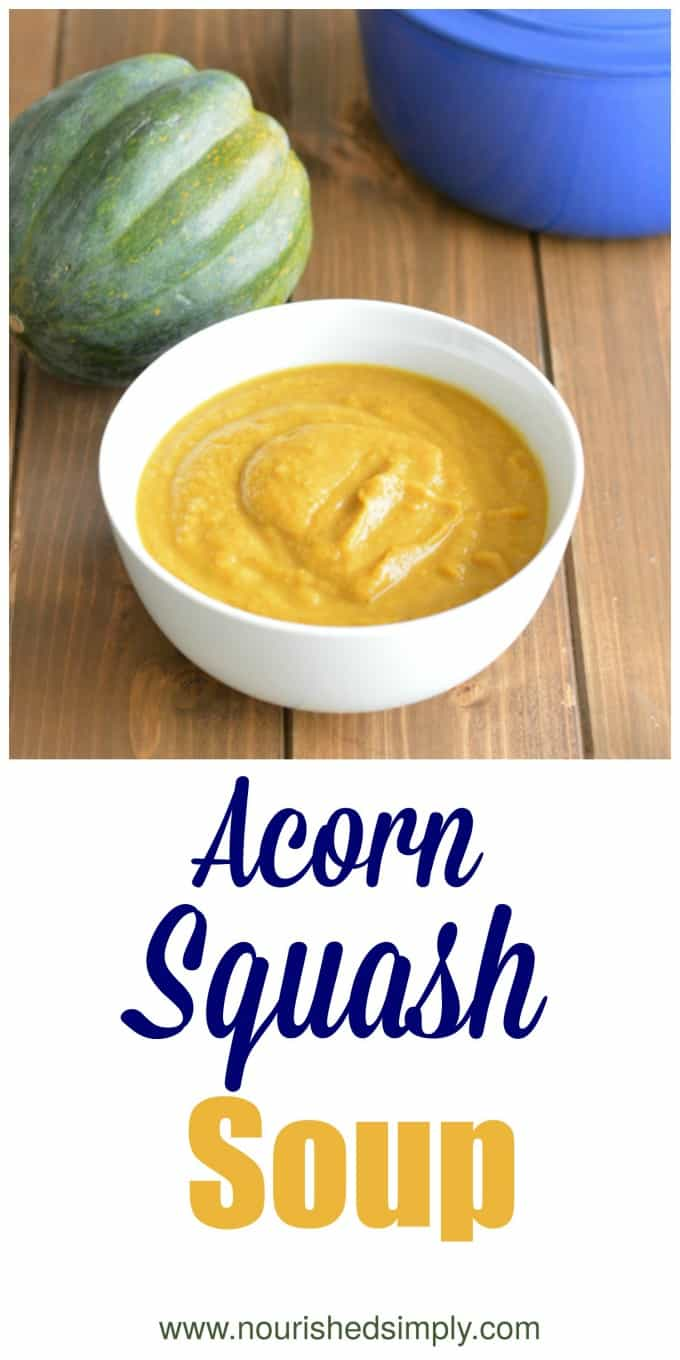 Acorn squash soup made plant-based ingredients is the perfect vegan soup for Thanksgiving or Meatless Monday.