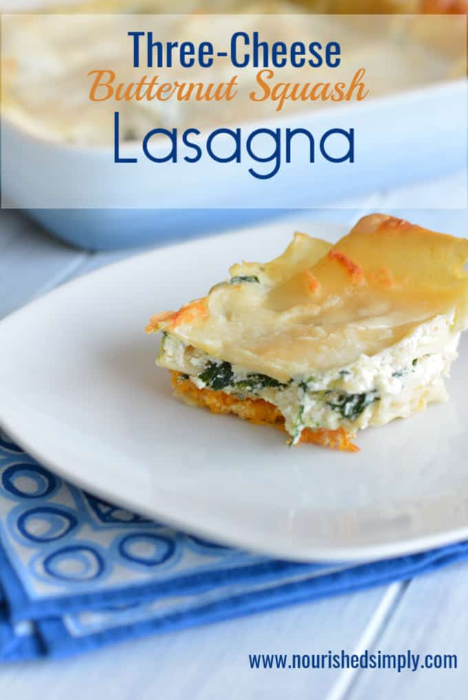Creamy and cheesy butternut squash lasagna.