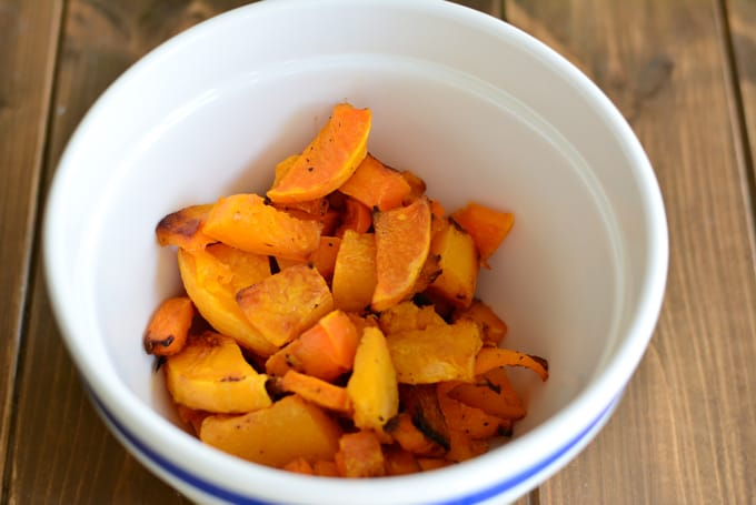 Roasted butternut squash in a bowl.