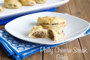 Cheese Steak Bites on a white plate