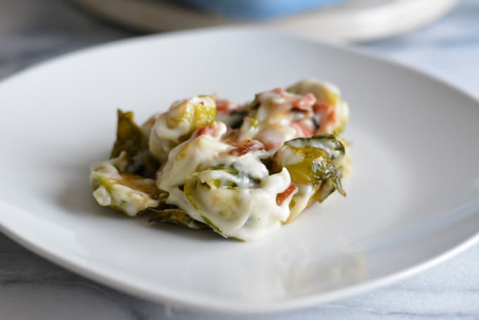Brussels Sprouts with Garlic Gruyere Sauce