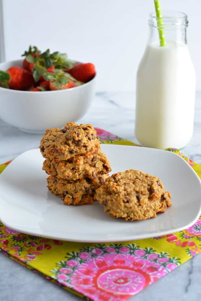 Peanut Butter Oatmeal Breakfast Cookie on a plate with milk.