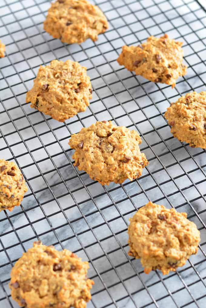 Peanut Butter Oatmeal Breakfast Cookie on a rack.