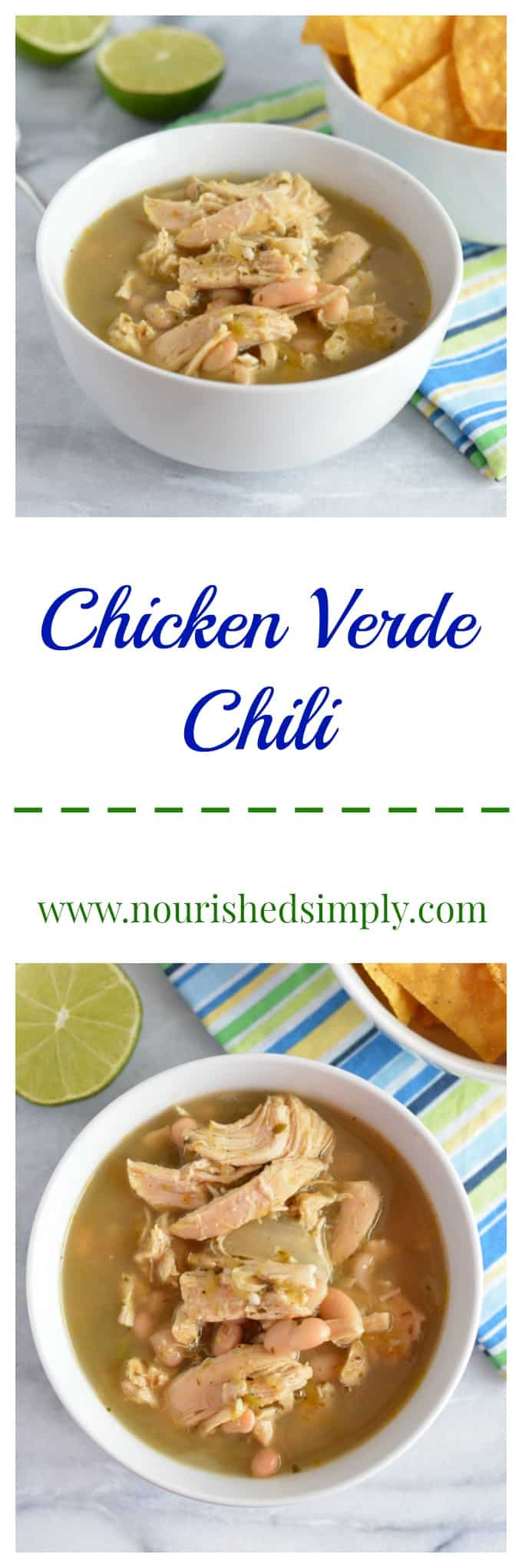 Slow Cooker Chicken Verde Chili - A perfect fix it and forget it dinner? Just put all the ingredients into your slow cooker and it's ready in no time!