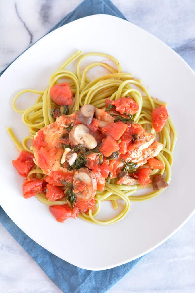 30 Minute Garden Chicken with Linguine