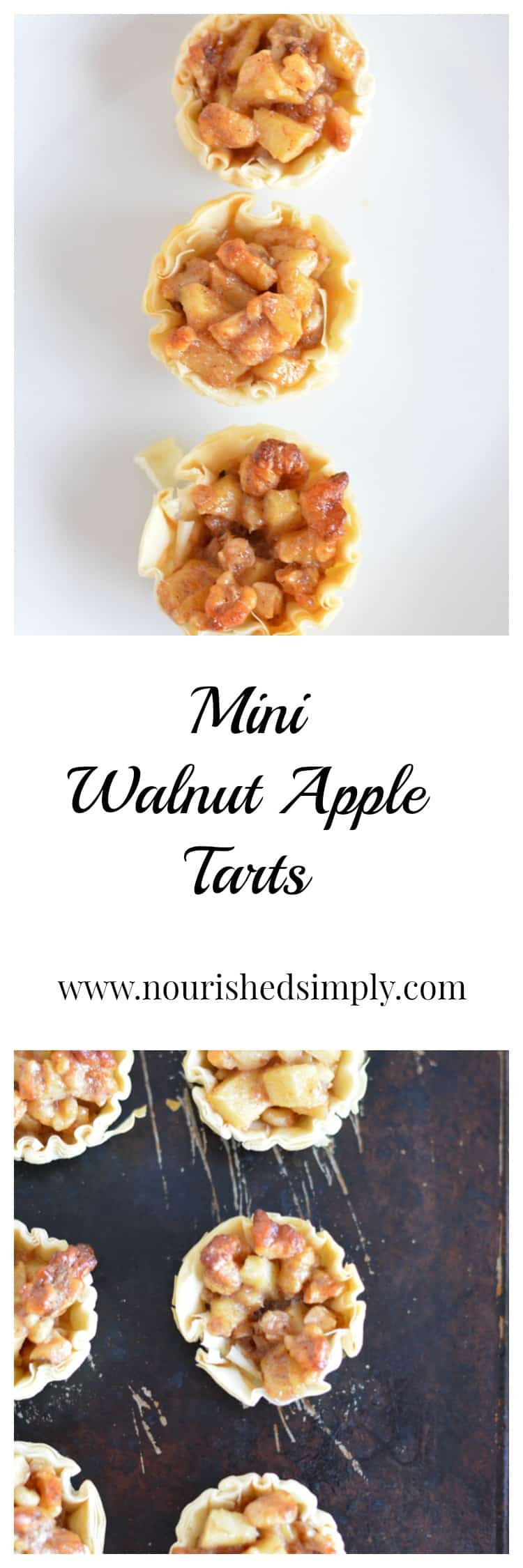 Mini Walnut Apple Tart: a mini version of apple pie perfect for parties and portion control