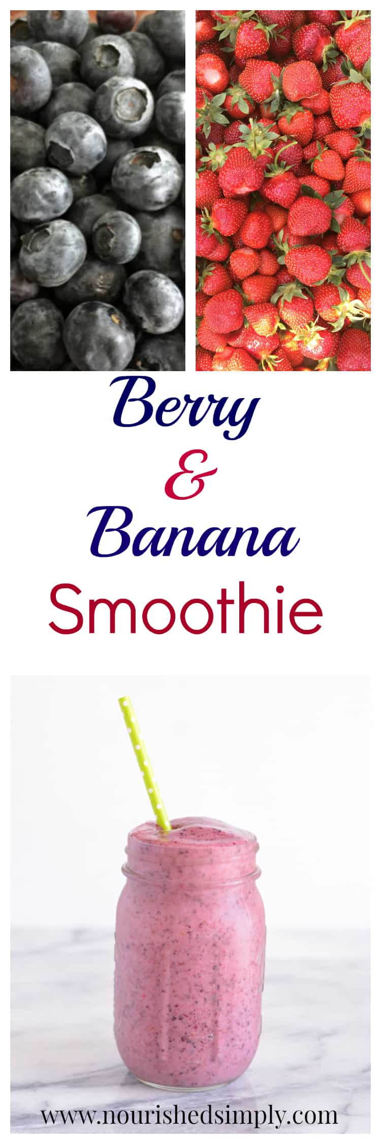 Berry Banana Smoothie made with real fruit and no added sugar is a vitamin filled drink to fill your belly.