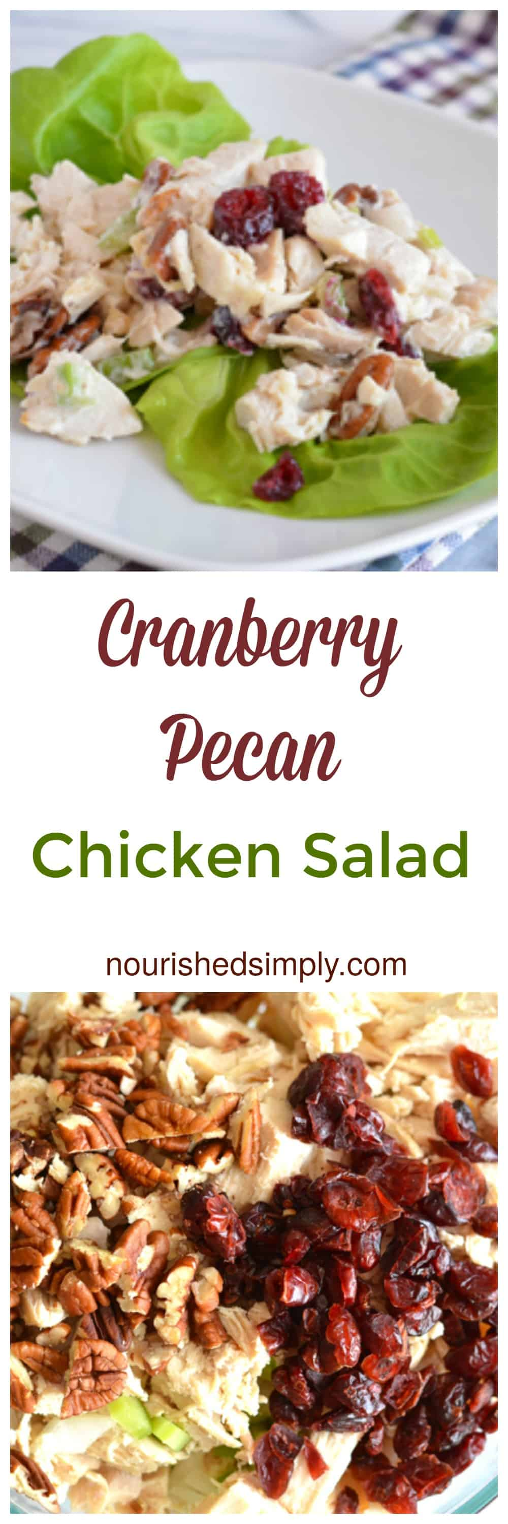 Cranberry Pecan Chicken Salad is festive enough for your holiday menu.