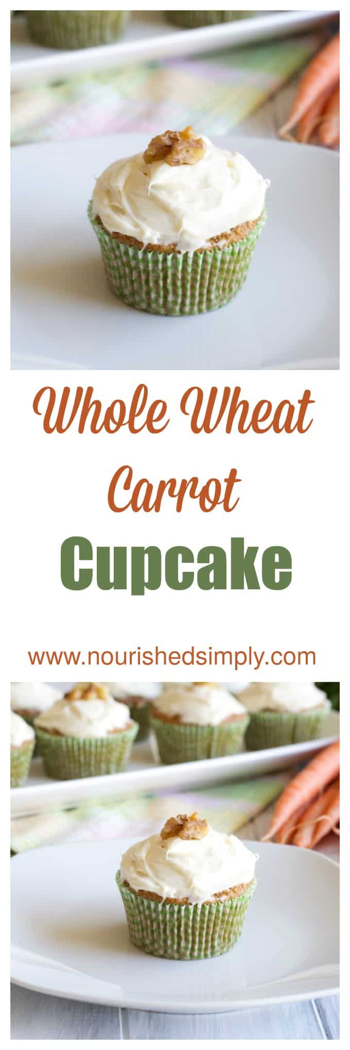 Whole Wheat Carrot Cupcakes made with whole wheat flour and other real ingredients.