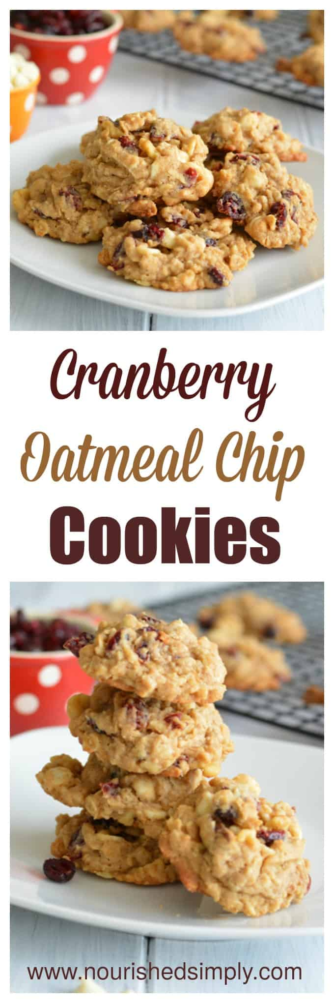 Cranberry Oatmeal Chip cookies are a healthier cooker made with whole grains perfect for your Holiday baking list.