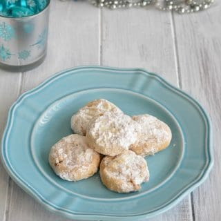 Simple ingredient crescent cookies are lower in sugar than most cookies. Perfect for this holiday season.