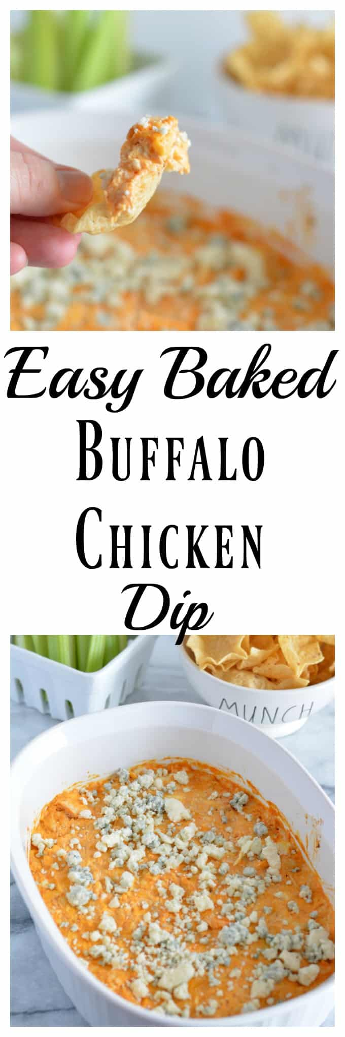 This easy baked buffalo chicken dip is ready in under 30 minutes. No party is complete without this protein-rich dip. #appetizer #dip #superbowl #football #party