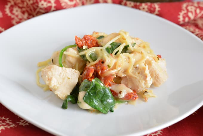 One-Pot Chicken Florentine with Sun-Dried Tomatoes is a perfect dinner meal for a busy family.