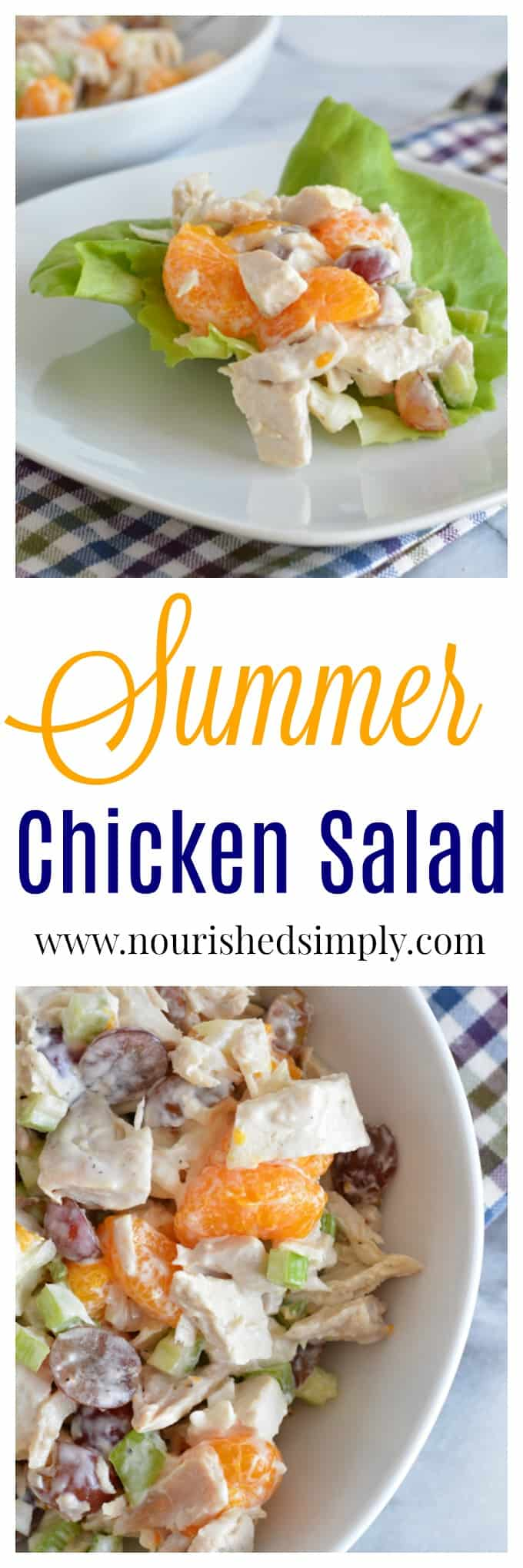 Having trouble eating enough fruit? Add fruit to chicken salad! This Summer Chicken Salad is filled with oranges and grapes.