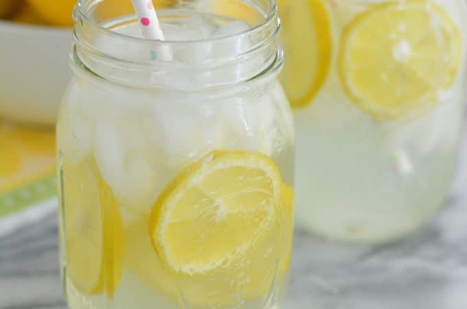 Homemade Lemonade in a mason jar.