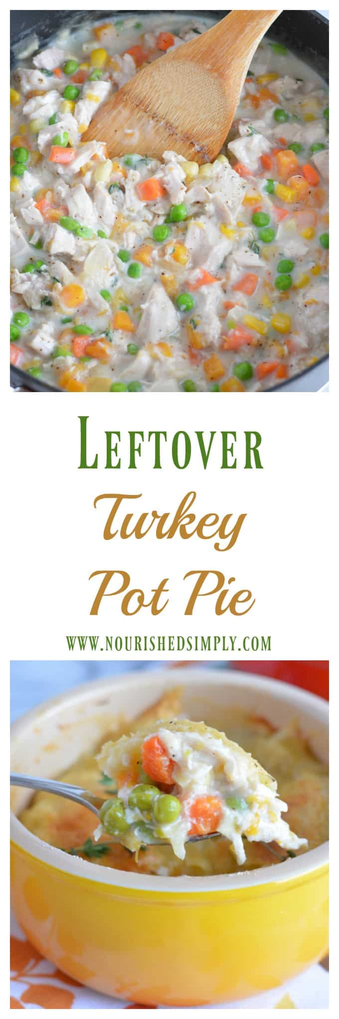 Use up leftover turkey in this quick and easy turkey pot pie recipe. It's loaded with veggies that you can grab right from your freezer. Don't let Thanksgiving leftovers go to waste! #thanksgiving