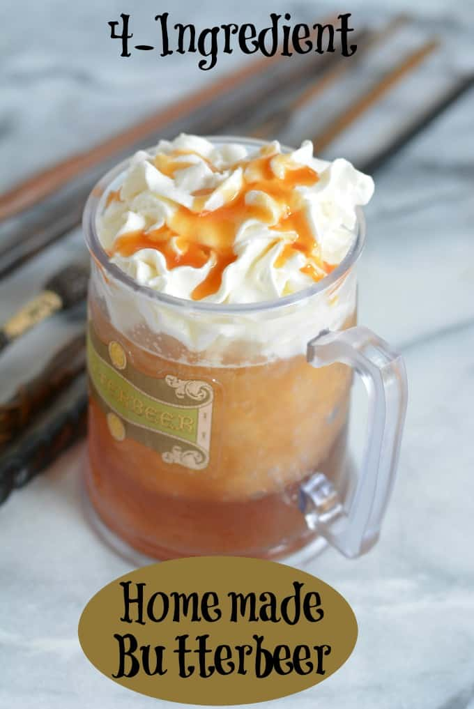 4-ingredient copycat frozen butterbeer will remind you of visiting the Wizarding World of Harry Potter. This homemade butterbeer recipe is easy to make and can be enjoyed by kids and adults. Make butterbeer for your next Halloween party. #kidfood #halloween #drink