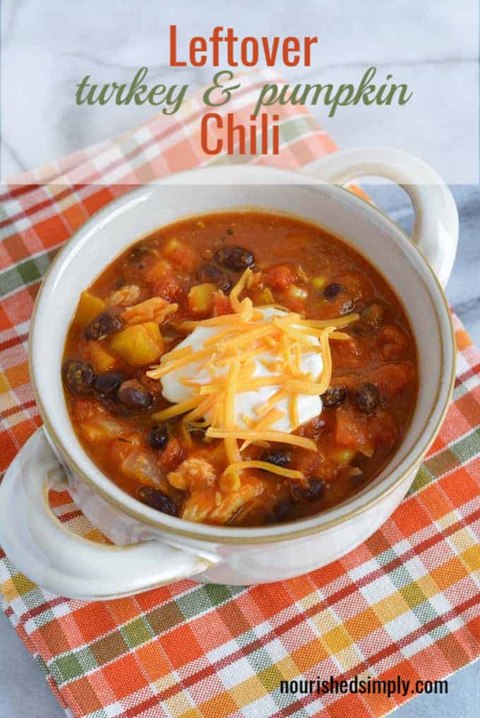 Leftover Turkey chili made with pumpkin puree, black beans, and butternut squash. A perfect way to use up leftover turkey. Ready to eat in just 30 minutes. #turkey #thanksgiving #hearthealthy #leftovers