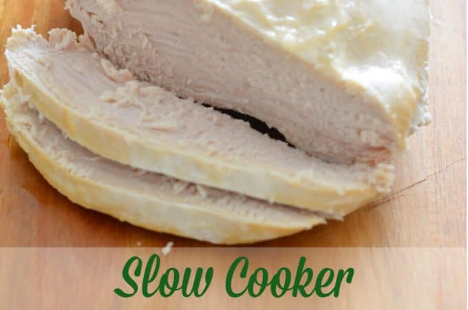 Tender turkey cooked in a slow cooker
